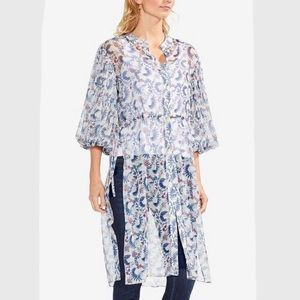 Vince Camuto sheer bubble-sleeve tunic